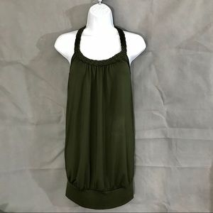 Olive Green Jeweled Back Braided Halter Top